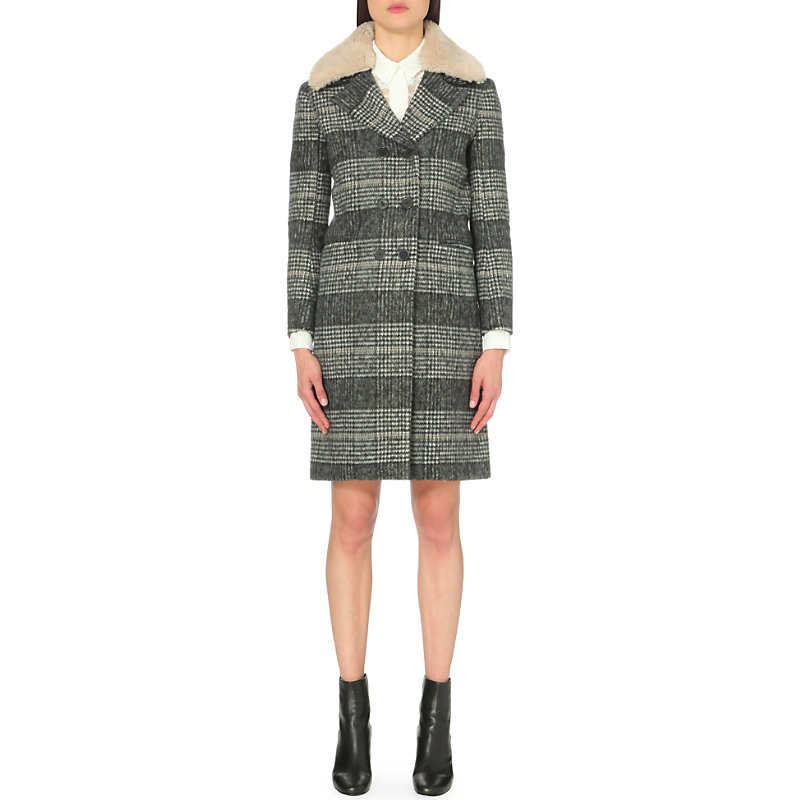 Joe Shearling Collar Woven Coat, Women's, Light Gray/Dark Blue/Light Blue - pattern: checked/gingham; style: double breasted; length: on the knee; secondary colour: charcoal; predominant colour: mid grey; occasions: casual; fit: tailored/fitted; fibres: polyester/polyamide - mix; sleeve length: long sleeve; sleeve style: standard; collar: fur; collar break: medium; pattern type: fabric; texture group: woven bulky/heavy; multicoloured: multicoloured; season: a/w 2016; wardrobe: highlight