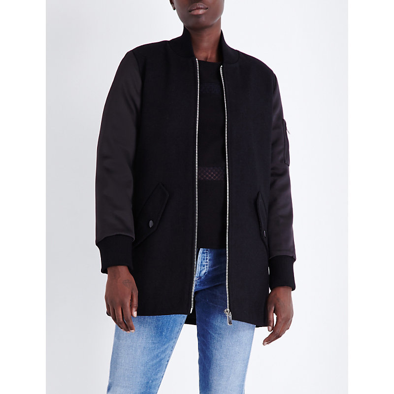 Gandi Wool Blend Bomber Jacket, Women's, Black - pattern: plain; collar: round collar/collarless; length: below the bottom; fit: slim fit; style: bomber; predominant colour: black; occasions: casual; fibres: wool - mix; sleeve length: long sleeve; sleeve style: standard; collar break: high; pattern type: fabric; texture group: woven light midweight; wardrobe: basic; season: a/w 2016