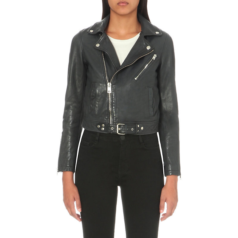 Leather Biker Jacket, Women's, Black/Yellow - pattern: plain; style: biker; collar: asymmetric biker; predominant colour: charcoal; occasions: casual, creative work; fit: tailored/fitted; fibres: leather - 100%; sleeve length: long sleeve; sleeve style: standard; texture group: leather; collar break: high/illusion of break when open; pattern type: fabric; length: cropped; wardrobe: basic; season: a/w 2016
