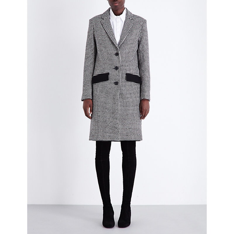 Grako Wool Blend Coat, Women's, Jacquard - pattern: checked/gingham; style: single breasted; length: on the knee; collar: standard lapel/rever collar; secondary colour: white; predominant colour: black; occasions: work; fit: tailored/fitted; fibres: wool - mix; hip detail: subtle/flattering hip detail; sleeve length: long sleeve; sleeve style: standard; collar break: medium; pattern type: fabric; pattern size: standard; texture group: woven bulky/heavy; season: a/w 2016; wardrobe: highlight