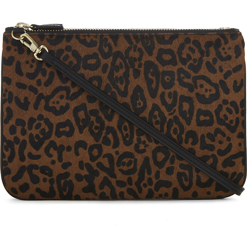 Addict Haircalf Cross Body Bag, Women's, Leopard - predominant colour: chocolate brown; secondary colour: black; occasions: casual, creative work; type of pattern: standard; style: clutch; length: across body/long; size: standard; material: animal skin; pattern: animal print; finish: plain; season: a/w 2016; wardrobe: highlight; trends: opulent prints