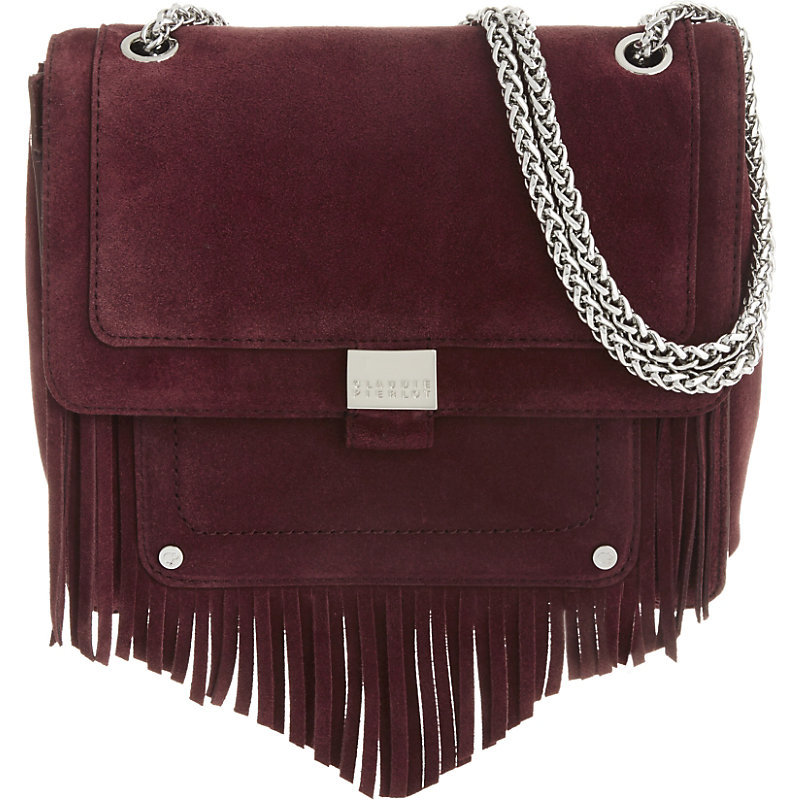 Angela Suede Shoulder Bag, Women's, Red - predominant colour: burgundy; secondary colour: silver; occasions: casual, creative work; type of pattern: standard; style: shoulder; length: shoulder (tucks under arm); size: standard; material: suede; embellishment: tassels; pattern: plain; finish: plain; season: a/w 2016; wardrobe: highlight
