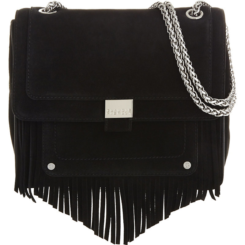 Angela Suede Shoulder Bag, Women's, Noir - secondary colour: silver; predominant colour: black; occasions: casual, creative work; type of pattern: standard; style: shoulder; length: shoulder (tucks under arm); size: standard; material: suede; embellishment: tassels; pattern: plain; finish: plain; wardrobe: investment; season: a/w 2016