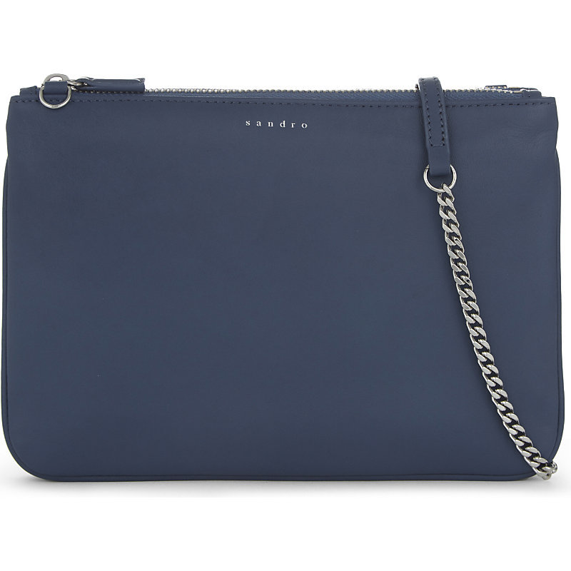 Addict Leather Cross Body Bag, Women's, Bleu Denim - predominant colour: royal blue; occasions: evening; type of pattern: standard; style: clutch; length: across body/long; size: standard; material: leather; pattern: plain; finish: plain; season: a/w 2016; wardrobe: event