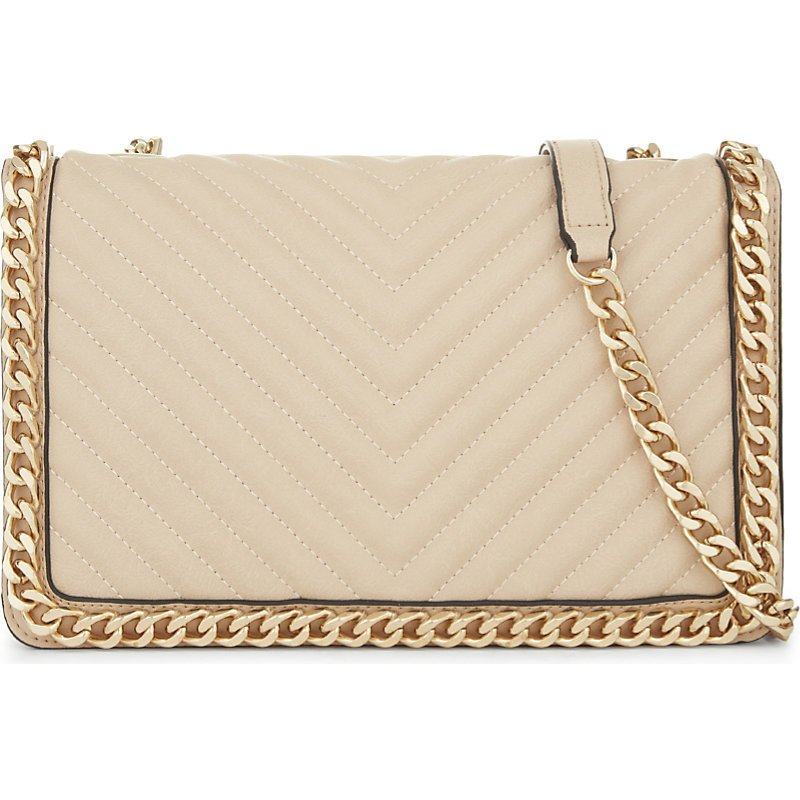 Greenwald Faux Leather Shoulder Bag, Women's, Ivory - predominant colour: ivory/cream; secondary colour: gold; occasions: casual, creative work; type of pattern: standard; style: shoulder; length: shoulder (tucks under arm); size: small; material: faux leather; pattern: plain; finish: plain; embellishment: chain/metal; wardrobe: investment; season: a/w 2016