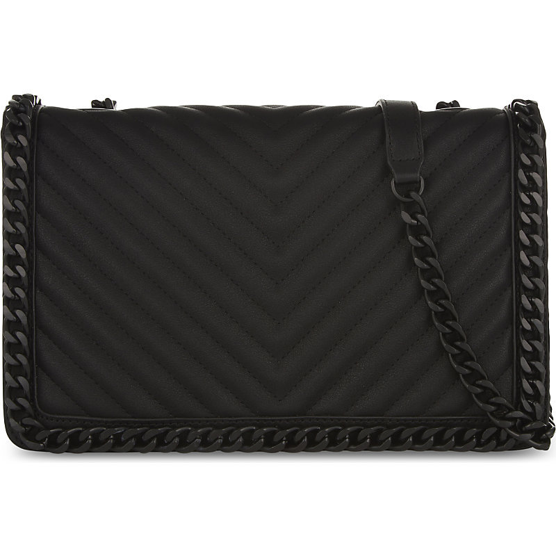 Greenwald Shoulder Bag, Women's, Black Leather - predominant colour: black; occasions: casual, work, creative work; type of pattern: standard; style: shoulder; length: shoulder (tucks under arm); size: small; material: leather; pattern: plain; finish: plain; embellishment: chain/metal; wardrobe: investment; season: a/w 2016