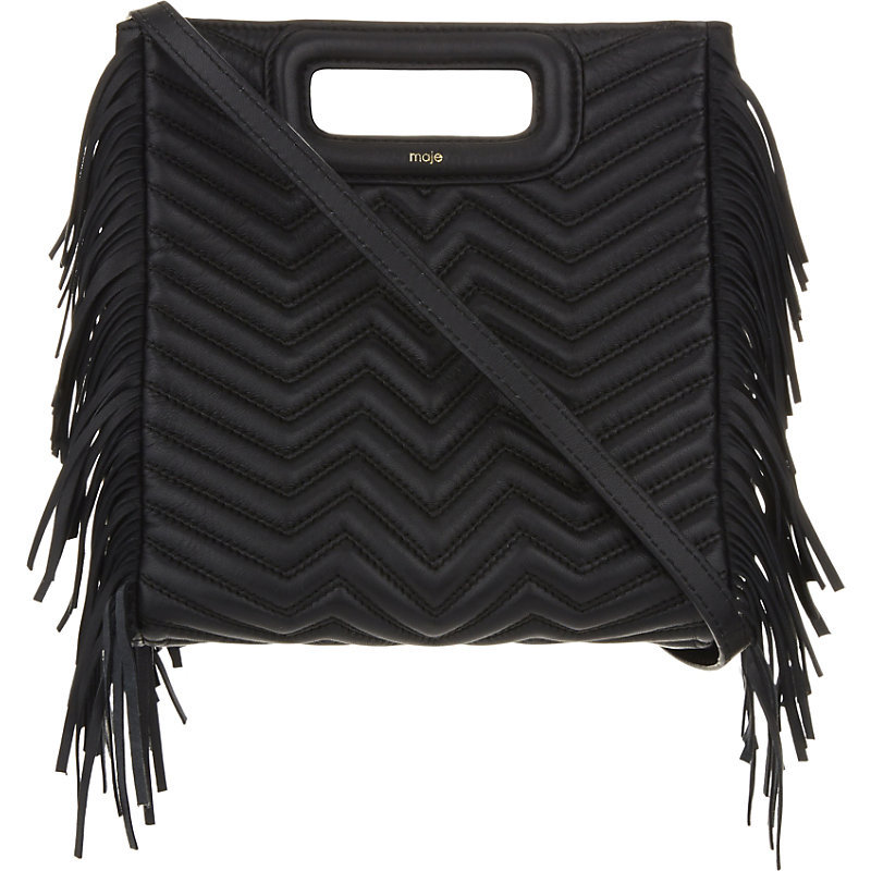 Mpadded Leather Cross Body Bag, Women's, Black - predominant colour: black; occasions: casual, creative work; type of pattern: standard; style: structured bag; length: across body/long; size: standard; material: leather; embellishment: fringing; pattern: plain; finish: plain; wardrobe: investment; season: a/w 2016