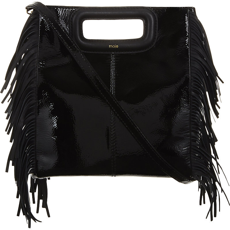 Mvernis Patent Leather Cross Body Bag, Women's, Black - predominant colour: black; occasions: casual, creative work; type of pattern: standard; style: shoulder; length: shoulder (tucks under arm); size: standard; material: suede; embellishment: tassels; pattern: plain; finish: plain; wardrobe: investment; season: a/w 2016