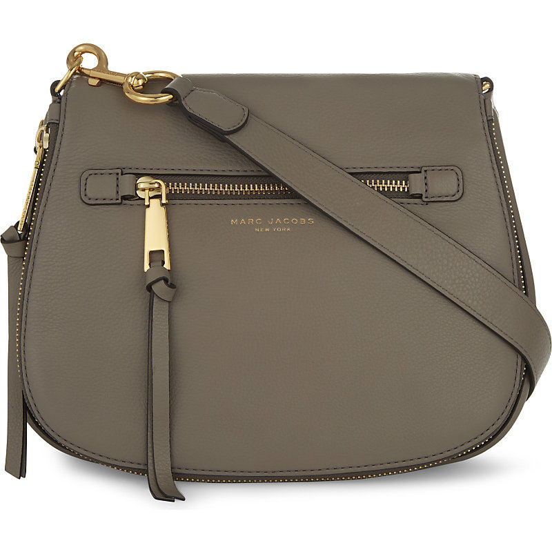Recruit Leather Saddle Bag, Women's, Gold/Black - predominant colour: khaki; occasions: casual, creative work; type of pattern: standard; style: saddle; length: shoulder (tucks under arm); size: small; material: leather; pattern: plain; finish: plain; wardrobe: basic; season: a/w 2016