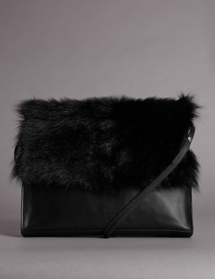 Leather Fur Trim Clutch Bag - predominant colour: black; occasions: casual, creative work; type of pattern: standard; style: shoulder; length: across body/long; size: small; material: fur; pattern: plain; finish: plain; embellishment: fur; season: a/w 2016; wardrobe: highlight