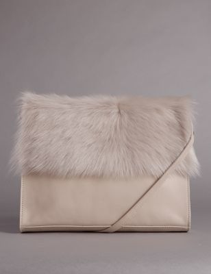 Leather Fur Trim Clutch Bag - predominant colour: ivory/cream; occasions: evening; type of pattern: standard; style: shoulder; length: across body/long; size: small; material: fur; pattern: plain; finish: plain; embellishment: fur; season: a/w 2016; wardrobe: event
