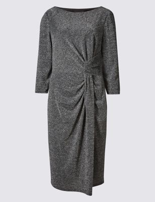 Sparkle 3/4 Sleeve Bodycon Dress - style: shift; neckline: slash/boat neckline; pattern: plain; waist detail: flattering waist detail; predominant colour: mid grey; occasions: evening; length: on the knee; fit: body skimming; fibres: polyester/polyamide - stretch; sleeve length: 3/4 length; sleeve style: standard; texture group: jersey - clingy; pattern type: fabric; embellishment: glitter; season: a/w 2016; wardrobe: event