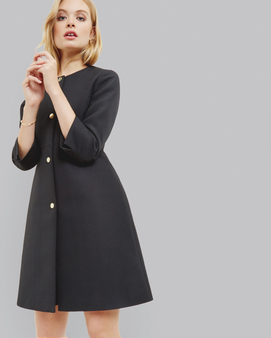 A Line Coat Black - pattern: plain; collar: round collar/collarless; style: single breasted; fit: slim fit; length: mid thigh; predominant colour: black; occasions: work, creative work; fibres: wool - mix; sleeve length: 3/4 length; sleeve style: standard; collar break: high; pattern type: fabric; texture group: woven bulky/heavy; wardrobe: investment; season: a/w 2016