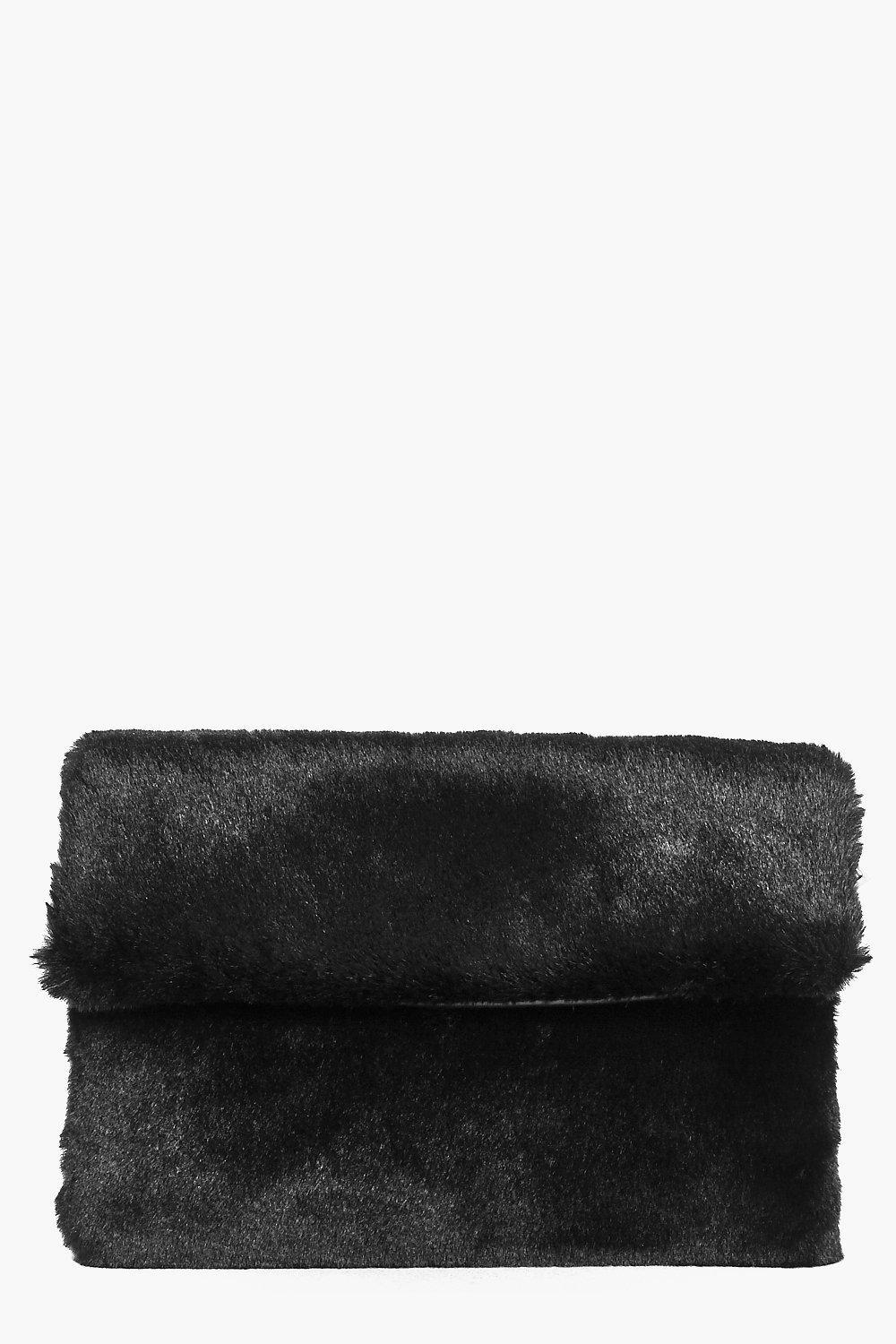 Faux Fur Fold Over Clutch Bag Black - predominant colour: black; occasions: evening, occasion; type of pattern: standard; style: clutch; length: hand carry; size: standard; material: faux fur; pattern: plain; finish: plain; season: a/w 2016; wardrobe: event