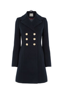 Marie Military Coat - pattern: plain; length: below the bottom; bust detail: added detail/embellishment at bust; style: double breasted; collar: standard lapel/rever collar; predominant colour: navy; occasions: casual; fit: tailored/fitted; fibres: wool - mix; sleeve length: long sleeve; sleeve style: standard; collar break: medium; pattern type: fabric; texture group: woven bulky/heavy; season: a/w 2016; wardrobe: highlight