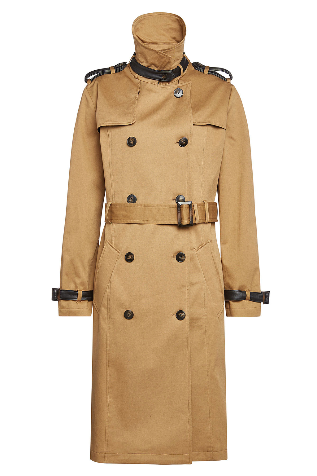 Cotton Trench Coat - pattern: plain; collar: funnel; style: double breasted; length: on the knee; predominant colour: camel; secondary colour: black; occasions: casual; fit: tailored/fitted; fibres: cotton - 100%; waist detail: belted waist/tie at waist/drawstring; sleeve length: long sleeve; sleeve style: standard; texture group: technical outdoor fabrics; collar break: high; pattern type: fabric; wardrobe: basic; season: a/w 2016