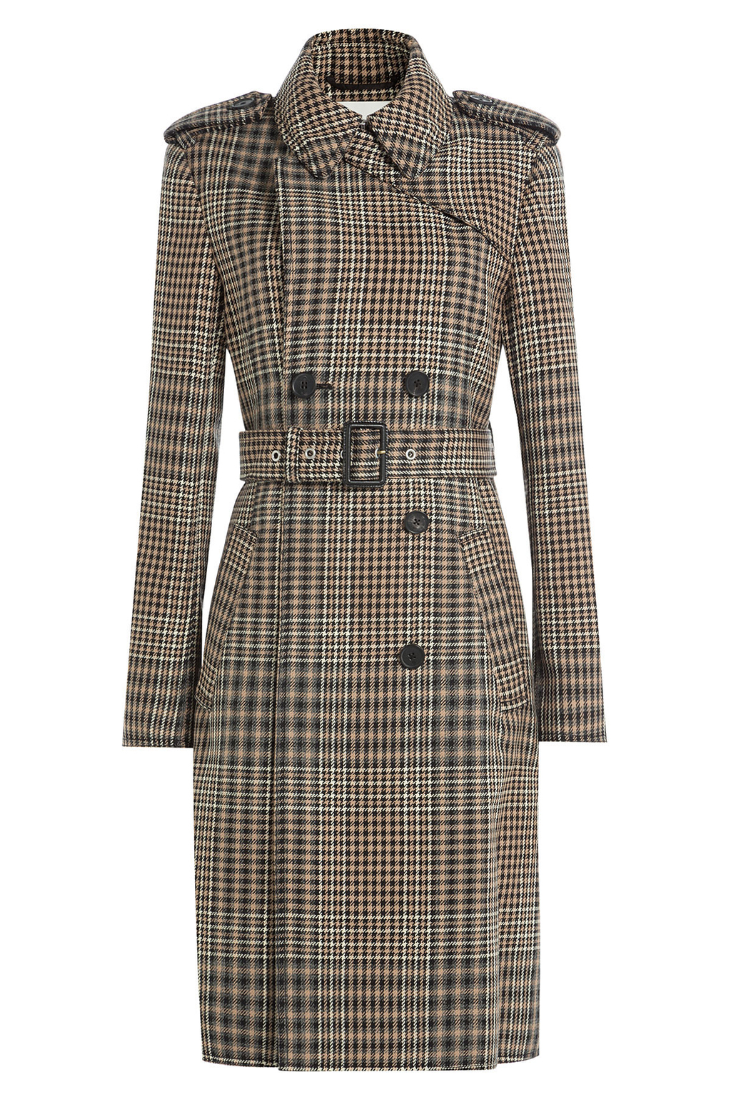 Printed Virgin Wool Trench Coat - pattern: checked/gingham; style: trench coat; length: on the knee; predominant colour: stone; secondary colour: mid grey; occasions: casual; fit: tailored/fitted; fibres: wool - 100%; collar: shirt collar/peter pan/zip with opening; waist detail: belted waist/tie at waist/drawstring; sleeve length: long sleeve; sleeve style: standard; collar break: high; pattern type: fabric; texture group: woven bulky/heavy; multicoloured: multicoloured; season: a/w 2016; wardrobe: highlight