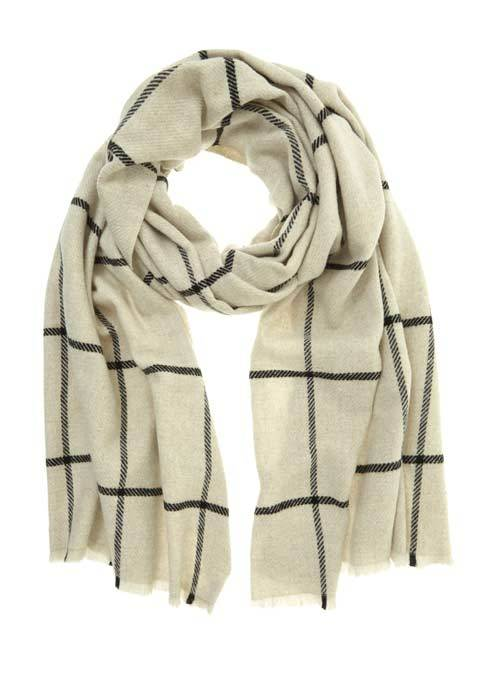 Ecru Woven Check Scarf - predominant colour: ivory/cream; occasions: casual; type of pattern: standard; style: regular; size: standard; material: knits; pattern: checked/gingham; season: a/w 2016