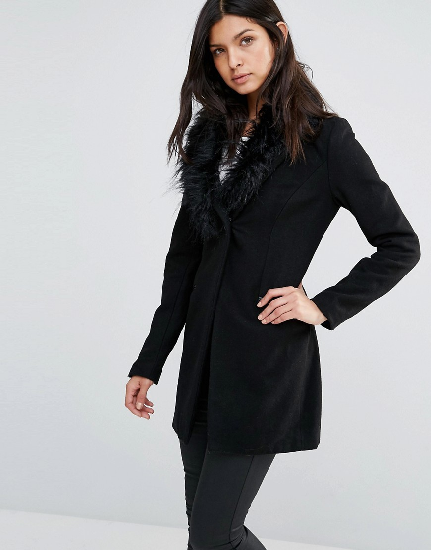 Coat With Faux Fur Collar Black - pattern: plain; length: below the bottom; style: single breasted; fit: slim fit; predominant colour: black; occasions: casual; fibres: wool - mix; sleeve length: long sleeve; sleeve style: standard; collar: fur; collar break: medium; pattern type: fabric; texture group: woven bulky/heavy; season: a/w 2016; wardrobe: highlight; embellishment: contrast fabric; embellishment location: neck