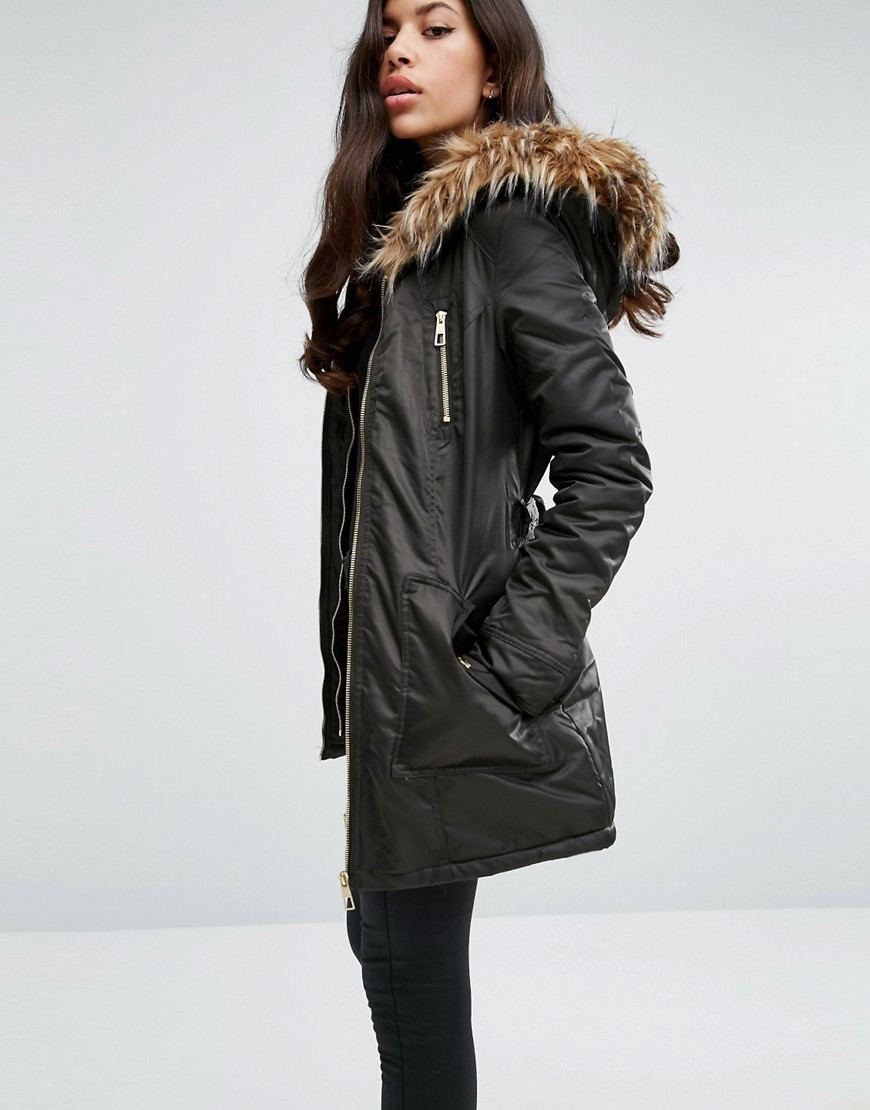 Faux Fur Hood Belted Parka Jacket With Zip Pockets Khaki - pattern: plain; length: below the bottom; fit: loose; style: parka; back detail: hood; predominant colour: khaki; occasions: casual; fibres: polyester/polyamide - mix; sleeve length: long sleeve; sleeve style: standard; collar: fur; collar break: high; pattern type: fabric; texture group: woven bulky/heavy; season: a/w 2016; wardrobe: highlight; embellishment location: bust