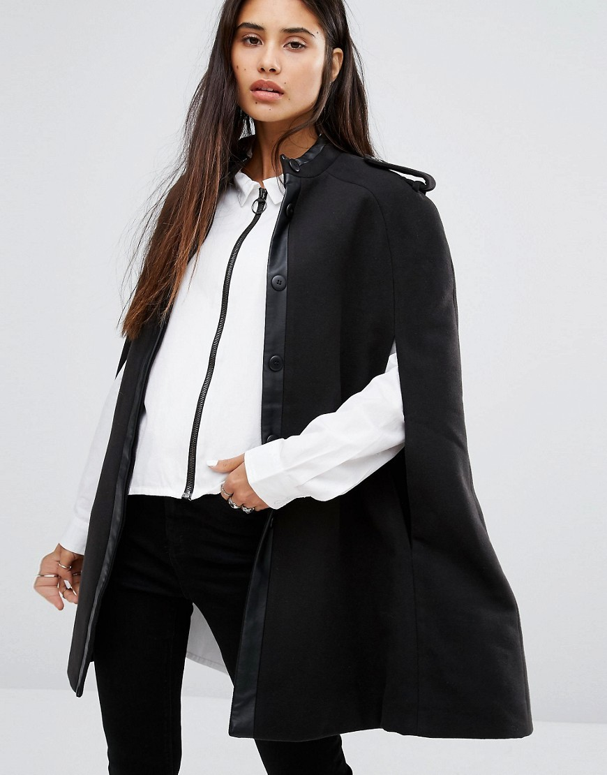 Cape Coat With Leather Look Detail Black - pattern: plain; length: below the bottom; collar: funnel; fit: loose; style: cape; predominant colour: black; occasions: casual; fibres: polyester/polyamide - mix; sleeve length: half sleeve; texture group: leather; collar break: high; pattern type: fabric; sleeve style: cape/poncho sleeve; season: a/w 2016; wardrobe: highlight; embellishment location: bust