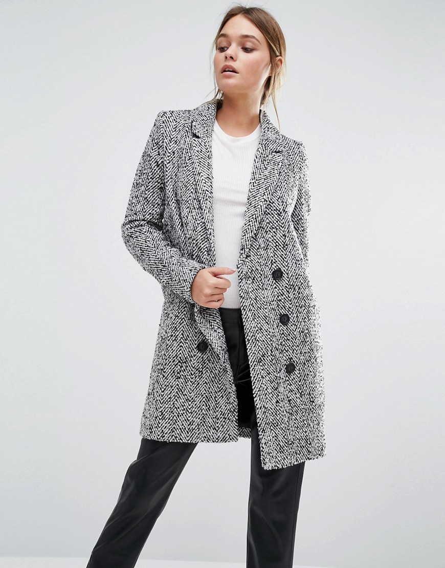 Dalay Tailored Coat In Tweed Black/White - pattern: plain; style: double breasted; length: on the knee; collar: standard lapel/rever collar; predominant colour: mid grey; occasions: casual; fit: tailored/fitted; fibres: polyester/polyamide - 100%; sleeve length: long sleeve; sleeve style: standard; collar break: medium; pattern type: fabric; texture group: tweed - bulky/heavy; wardrobe: basic; season: a/w 2016