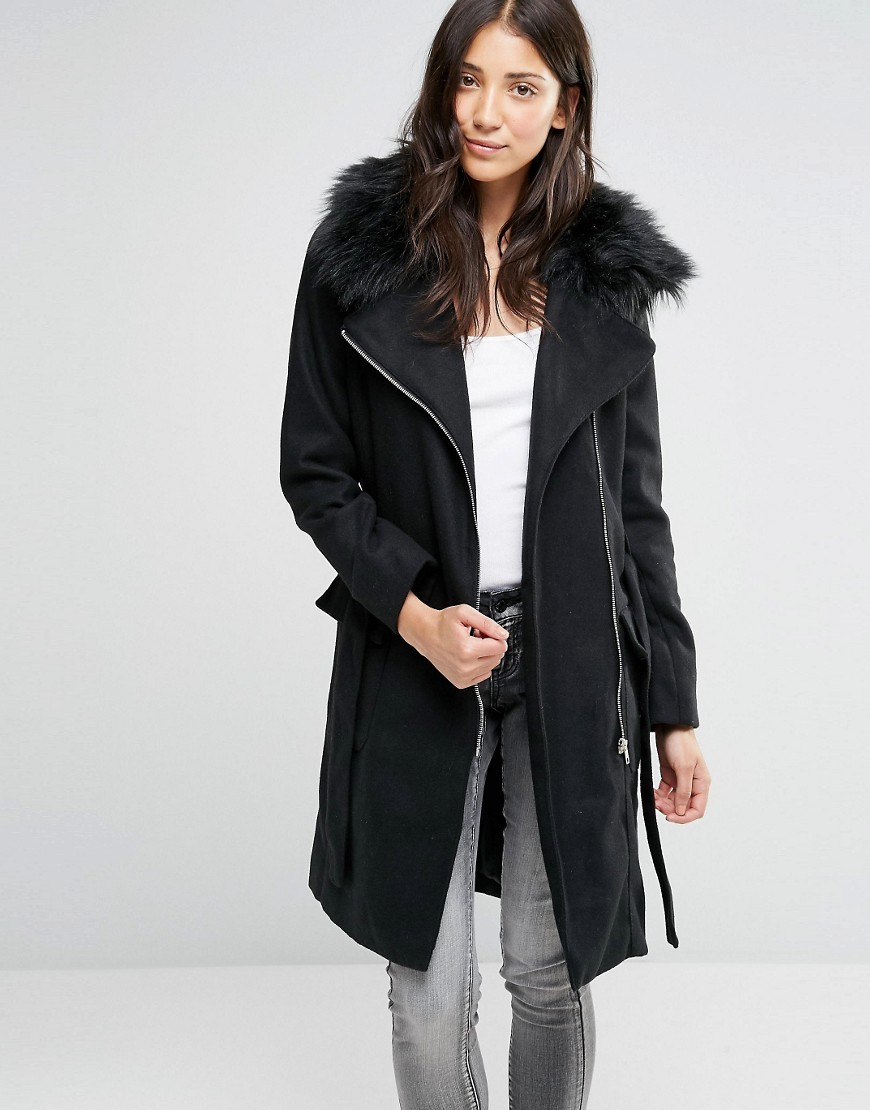 Longline Belted Coat With Faux Fur Trim Black - pattern: plain; style: single breasted; length: mid thigh; predominant colour: black; occasions: casual, creative work; fit: tailored/fitted; fibres: polyester/polyamide - mix; waist detail: belted waist/tie at waist/drawstring; sleeve length: long sleeve; sleeve style: standard; collar: fur; collar break: medium; pattern type: fabric; texture group: other - light to midweight; wardrobe: basic; season: a/w 2016