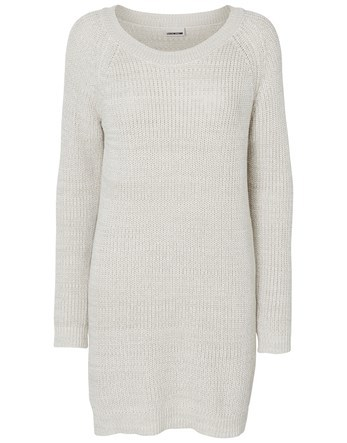 Long Sleeve Knit Dress - style: jumper dress; length: mid thigh; neckline: slash/boat neckline; pattern: plain; predominant colour: ivory/cream; occasions: casual; fit: body skimming; fibres: cotton - mix; sleeve length: long sleeve; sleeve style: standard; texture group: knits/crochet; pattern type: knitted - fine stitch; wardrobe: basic; season: a/w 2016