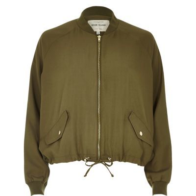 Womens Khaki Drawstring Hem Jacket - pattern: plain; collar: round collar/collarless; fit: slim fit; style: bomber; predominant colour: khaki; occasions: casual; length: standard; sleeve length: long sleeve; sleeve style: standard; collar break: high; pattern type: fabric; texture group: woven light midweight; fibres: viscose/rayon - mix; wardrobe: basic; season: a/w 2016
