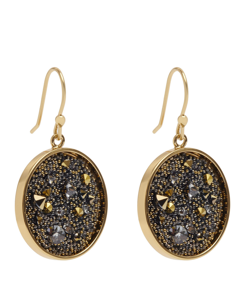 Marcey Womens Earrings With Crystals From Swarovski In Yellow - predominant colour: bronze; occasions: evening, occasion; style: drop; length: mid; size: standard; material: chain/metal; fastening: pierced; finish: metallic; embellishment: jewels/stone; secondary colour: pewter; season: a/w 2016; wardrobe: event