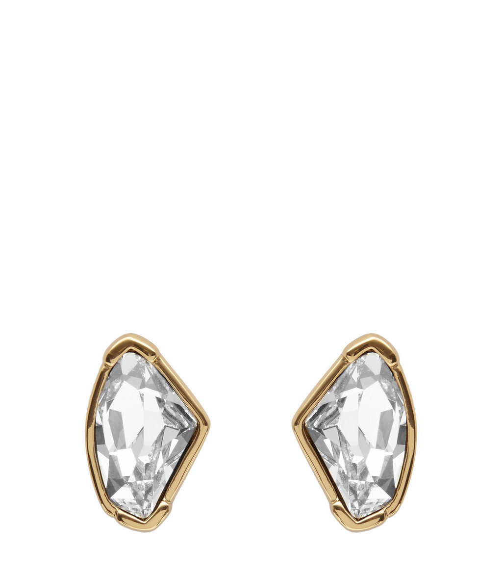 Thelma Womens Stud Earrings With Crystals From Swarovski In Yellow - secondary colour: silver; predominant colour: bronze; occasions: evening, occasion; style: stud; length: short; size: standard; material: chain/metal; fastening: pierced; finish: metallic; embellishment: crystals/glass; season: a/w 2016; wardrobe: event