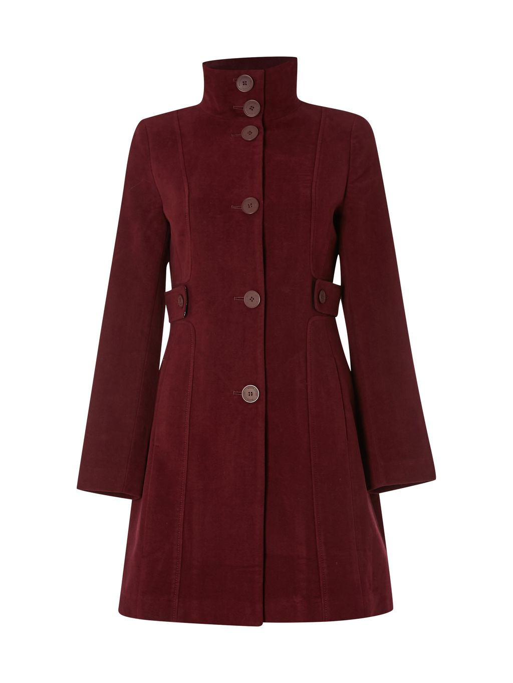 Market Place Velvet Coat, Burgundy - pattern: plain; collar: funnel; style: single breasted; length: mid thigh; predominant colour: burgundy; occasions: casual; fit: tailored/fitted; fibres: fur - 100%; sleeve length: long sleeve; sleeve style: standard; collar break: high; pattern type: fabric; texture group: velvet/fabrics with pile; season: a/w 2016; wardrobe: highlight