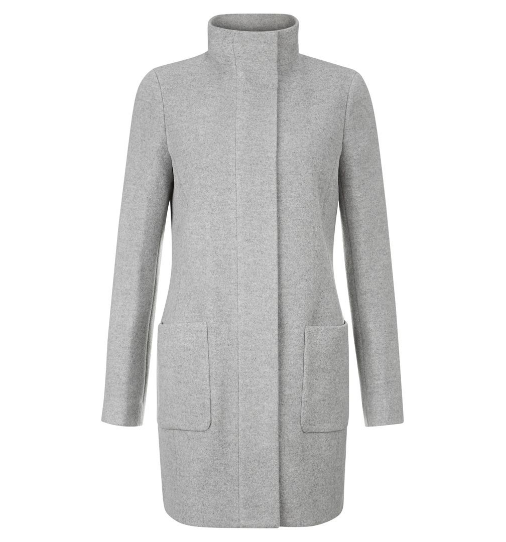 Elouise Coat, Grey - pattern: plain; collar: funnel; style: single breasted; length: mid thigh; predominant colour: mid grey; occasions: casual, work, creative work; fit: tailored/fitted; fibres: wool - mix; sleeve length: long sleeve; sleeve style: standard; collar break: high; pattern type: fabric; texture group: woven bulky/heavy; wardrobe: basic; season: a/w 2016