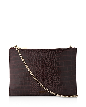 Shiny Croc Embossed Chain Clutch - predominant colour: aubergine; secondary colour: gold; occasions: evening, occasion; type of pattern: light; style: clutch; length: across body/long; size: standard; material: leather; pattern: animal print; finish: plain; season: a/w 2016; wardrobe: event
