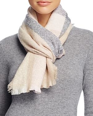 Color Block Boucle Scarf - predominant colour: ivory/cream; secondary colour: mid grey; occasions: casual; type of pattern: standard; style: regular; size: standard; material: fabric; pattern: checked/gingham; multicoloured: multicoloured; season: a/w 2016; wardrobe: highlight