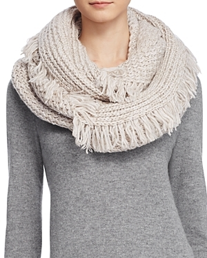 Fringe Loop Scarf - predominant colour: stone; occasions: casual; type of pattern: standard; style: regular; size: standard; material: knits; embellishment: fringing; pattern: plain; season: a/w 2016