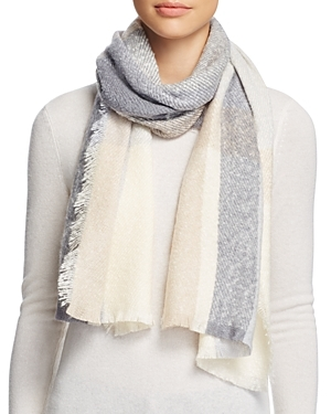 Color Block Boucle Scarf - predominant colour: pale blue; occasions: casual, creative work; type of pattern: standard; style: regular; size: standard; material: fabric; pattern: striped; season: a/w 2016; wardrobe: highlight