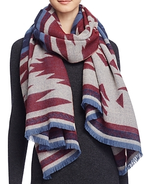 Aztec Scarf - predominant colour: burgundy; occasions: casual; type of pattern: heavy; style: wrap; size: large; material: fabric; pattern: patterned/print; multicoloured: multicoloured; season: a/w 2016