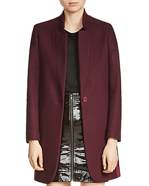 Goriage Wool Blend Coat - pattern: plain; collar: round collar/collarless; style: single breasted; length: mid thigh; predominant colour: burgundy; occasions: casual, creative work; fit: straight cut (boxy); fibres: wool - mix; sleeve length: long sleeve; sleeve style: standard; collar break: medium; pattern type: fabric; texture group: woven bulky/heavy; season: a/w 2016