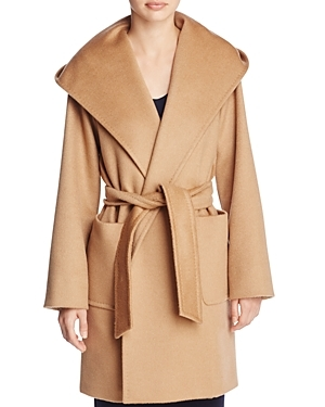 Rialto Wrap Coat - pattern: plain; collar: wide lapels; style: wrap around; length: mid thigh; predominant colour: camel; occasions: casual; fit: tailored/fitted; fibres: fur - 100%; waist detail: belted waist/tie at waist/drawstring; sleeve length: long sleeve; sleeve style: standard; collar break: medium; pattern type: fabric; texture group: woven bulky/heavy; wardrobe: basic; season: a/w 2016