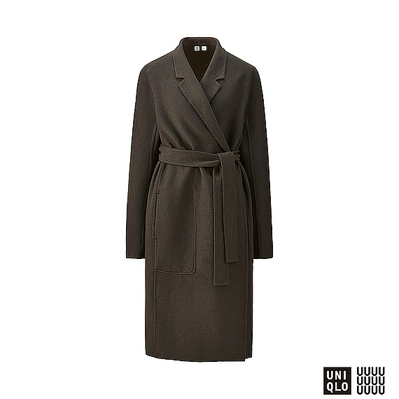 Women U Wool Blend Wrap Coat Olive - pattern: plain; style: wrap around; collar: standard lapel/rever collar; predominant colour: khaki; occasions: work, creative work; fit: tailored/fitted; fibres: wool - mix; length: below the knee; waist detail: belted waist/tie at waist/drawstring; sleeve length: long sleeve; sleeve style: standard; collar break: medium; pattern type: fabric; texture group: woven bulky/heavy; wardrobe: investment; season: a/w 2016