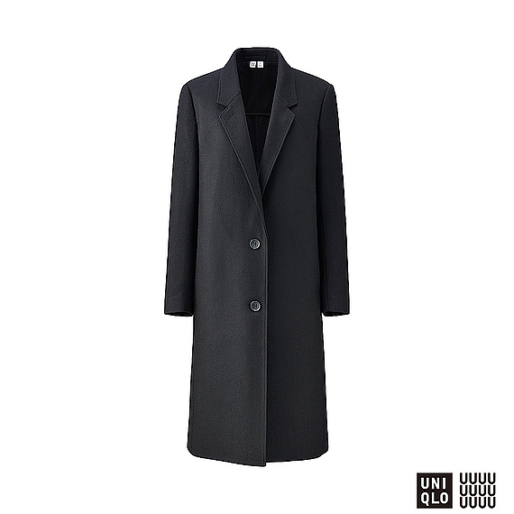 Women U Wool Blend Chester Coat Black - pattern: plain; style: single breasted; collar: standard lapel/rever collar; length: calf length; predominant colour: black; occasions: casual; fit: tailored/fitted; fibres: wool - mix; sleeve length: long sleeve; sleeve style: standard; collar break: medium; pattern type: fabric; texture group: woven bulky/heavy; wardrobe: basic; season: a/w 2016