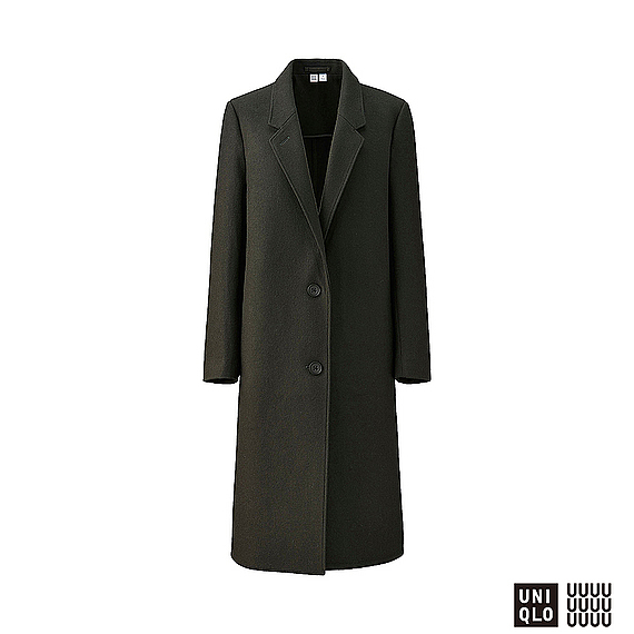 Women U Wool Blend Chester Coat Olive - pattern: plain; style: single breasted; collar: standard lapel/rever collar; length: calf length; predominant colour: dark green; occasions: casual; fit: straight cut (boxy); fibres: wool - mix; sleeve length: long sleeve; sleeve style: standard; collar break: medium; pattern type: fabric; texture group: woven bulky/heavy; season: a/w 2016; wardrobe: highlight