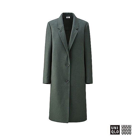 Women U Wool Blend Chester Coat Dark Green - pattern: plain; style: single breasted; collar: standard lapel/rever collar; predominant colour: dark green; occasions: work, creative work; fit: straight cut (boxy); fibres: wool - mix; length: below the knee; sleeve length: long sleeve; sleeve style: standard; collar break: medium; pattern type: fabric; texture group: woven bulky/heavy; season: a/w 2016; wardrobe: highlight