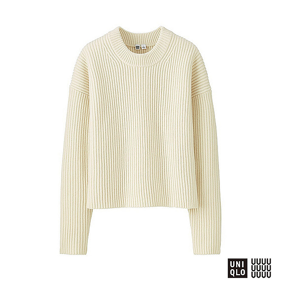 Women U 100% Lambswool Cropped Crew Neck Sweater Off White - neckline: round neck; pattern: plain; style: standard; predominant colour: ivory/cream; occasions: casual, work, creative work; length: standard; fibres: wool - 100%; fit: standard fit; sleeve length: long sleeve; sleeve style: standard; texture group: knits/crochet; pattern type: knitted - other; wardrobe: basic; season: a/w 2016