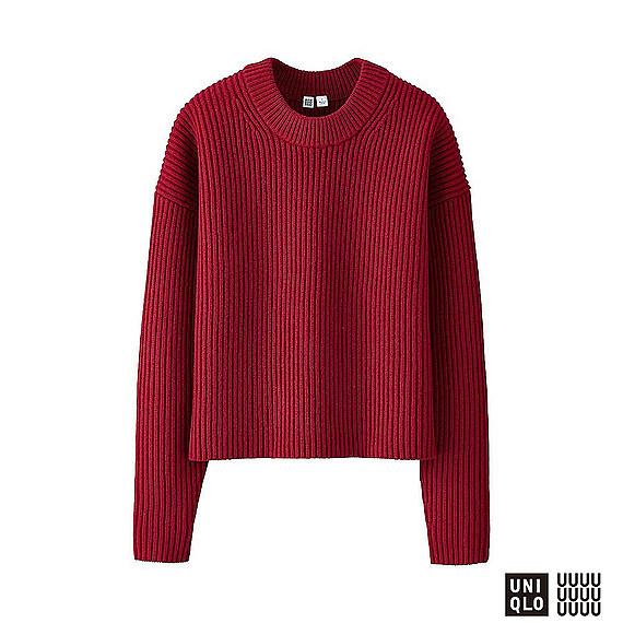 Women U 100% Lambswool Cropped Crew Neck Sweater Red - neckline: round neck; pattern: plain; style: standard; predominant colour: true red; occasions: casual, work, creative work; length: standard; fibres: wool - 100%; fit: standard fit; sleeve length: long sleeve; sleeve style: standard; texture group: knits/crochet; pattern type: knitted - fine stitch; season: a/w 2016; wardrobe: highlight
