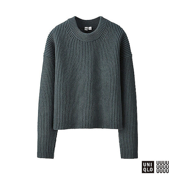 Women U 100% Lambswool Cropped Crew Neck Sweater Dark Green - neckline: round neck; pattern: plain; style: standard; predominant colour: dark green; occasions: casual, work, creative work; length: standard; fibres: wool - mix; fit: standard fit; sleeve length: long sleeve; sleeve style: standard; texture group: knits/crochet; pattern type: knitted - fine stitch; season: a/w 2016