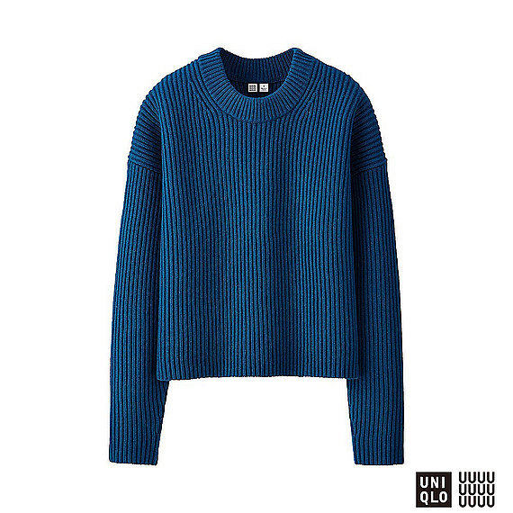 Women U 100% Lambswool Cropped Crew Neck Sweater Blue - neckline: round neck; pattern: plain; style: standard; predominant colour: royal blue; occasions: casual, work, creative work; length: standard; fibres: wool - 100%; fit: standard fit; sleeve length: long sleeve; sleeve style: standard; texture group: knits/crochet; pattern type: knitted - fine stitch; season: a/w 2016; wardrobe: highlight