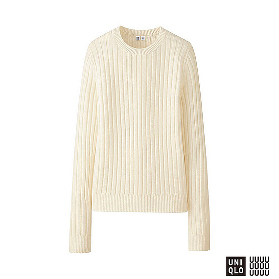 Women U Extra Fine Merino Wide Rib Crew Neck Sweater Off White - neckline: round neck; pattern: plain; style: standard; predominant colour: ivory/cream; occasions: casual, work, creative work; length: standard; fibres: wool - 100%; fit: standard fit; sleeve length: long sleeve; sleeve style: standard; texture group: knits/crochet; pattern type: knitted - fine stitch; wardrobe: basic; season: a/w 2016