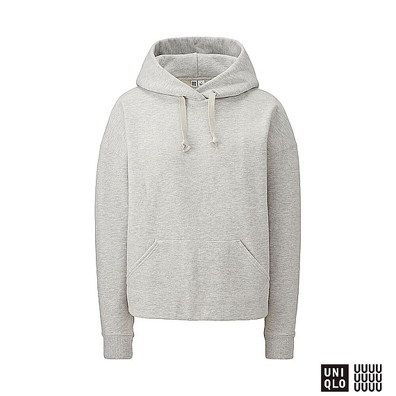 Women U Sweat Pullover Hoodie Gray - pattern: plain; back detail: hood; style: sweat top; predominant colour: light grey; occasions: casual; length: standard; fibres: cotton - mix; fit: straight cut; neckline: crew; sleeve length: long sleeve; sleeve style: standard; pattern type: fabric; texture group: jersey - stretchy/drapey; season: a/w 2016